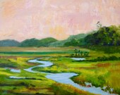 Modern Impressionist Original Oil Palette Knife Marsh Kiawah South Carolina Landscape Painting by Rebecca Croft