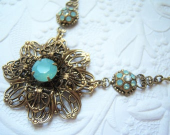 Swarovski pacific opal filigree flower necklace-GH742