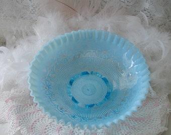 Vintage A,qua Blue Fenton Opalescent Ruffled Edge Three Footed Bowl