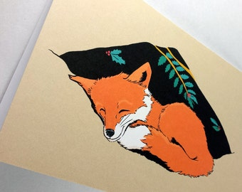 Sleepy Fox Holiday Christmas Card Set of 4