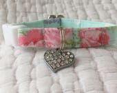 Shabby Chic Cat Collar Blue with floral snd rhinestone heart charm Cat  Breakaway Collar Custom Made