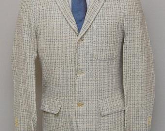 1950-60s men's cream with white, black, blue check wool blazer/ 50-60s men's check blazer