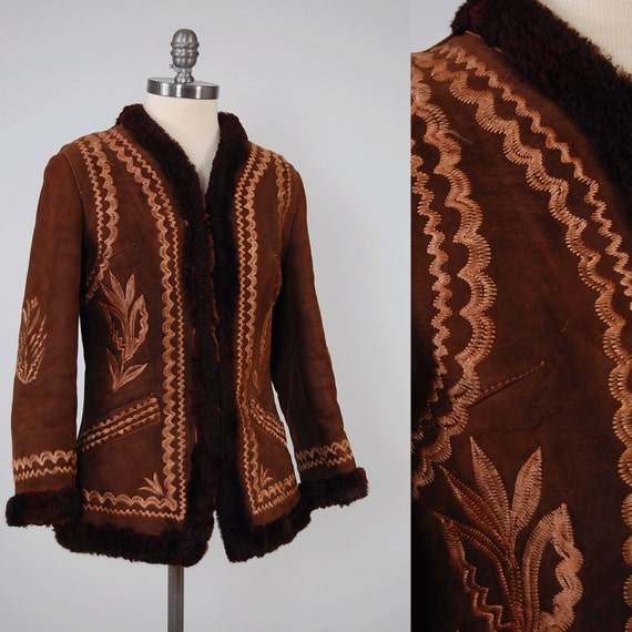 Vintage s chocolate sheepskin embroidered afghan coat
