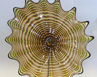 Beautiful Hand Blown Glass Art Wall Platter Bowl 7599  ONEIL