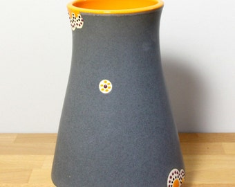 SALE!!  Ceramic Flower Vase, Medium Flower Vase, Modern Stoneware Vase, Flower Container in Gray and Orange  by Nstarstudio