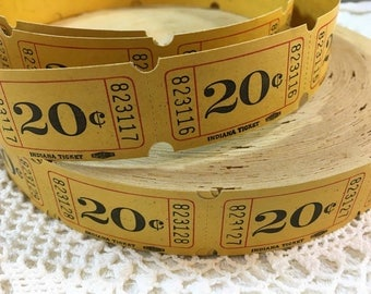 Vintage Yellow 20 cents Admission Tickets / Raffle Tickets / Numbered / Price Tickets