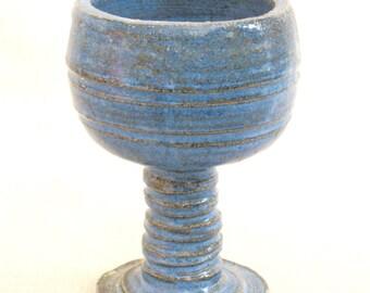 Vintage Ceramic Pedestal Dish, Soap Dish, Dresser, Vanity, Guest Bathroom, Bathroom Accessories, Challis, Studio Pottery, Handmade, Blue