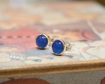 Sterling Silver Blue Agate Gemstone Earrings, Sterling Silver Earrings, Stud Earrings, Birthday Gift, Mother's Day Gift