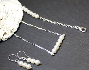 Minimalist Set of Pearl Earrings, Bracelet, and Pendant Necklace, Sterling Silver Chain , Bridesmaid Gift, Wedding Gift
