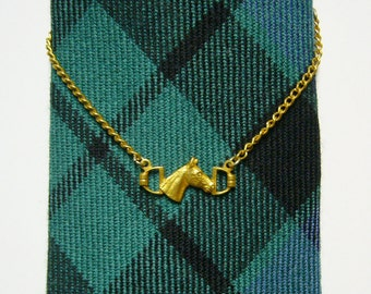 Vintage Gold Tone Horse Chain Style Tie Clip - Equestrian Motif, Adjustable