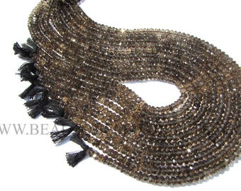 Smoky Faceted Roundel (Quality A) / 5.5 to 6 mm / 36 cm / SM-034