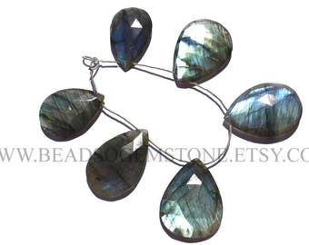 Labradorite Faceted Focal Pear Pendant (Quality A+) / 2x35 to 30x40 mm / 18 cm / LAB-075
