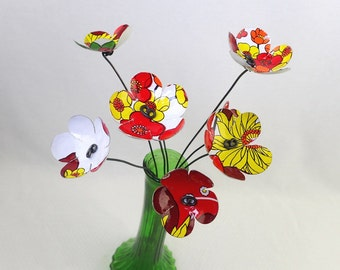 Delightful Red, Yellow and White Bouquet  of Tin Forever Blooming Flowers