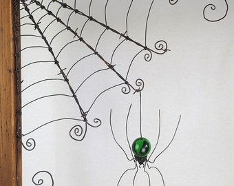 "18""  Barbed Wire Corner Spider Web With Green Spider"