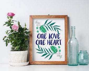 CLEARANCE - One Love One Heart - Bob Marley - Wall Art - Wedding Gift - Anniversary Gift - Love Quote -DIY - Bohemian Art Print