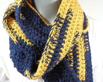 Blue and Gold Crochet Infinity Scarf, Winter Wear, Bulky Soft Neckwarmer, Gifts Under 30, Football Fan Gift, Present for Mom, Unisex Scarf
