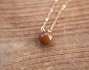 Faceted Citrine Teardrop on 14k Gold Filled Chain Stacking Necklace Quartz Jewelry Natural Gemstone Necklace November Birthstone