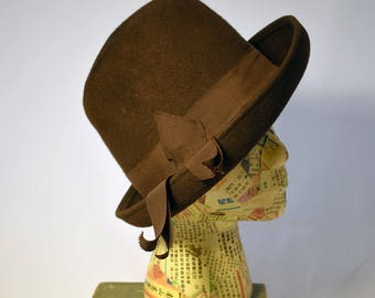Chocolate Brown 1940s Glenover Henry Pollak wool felt ladies hat