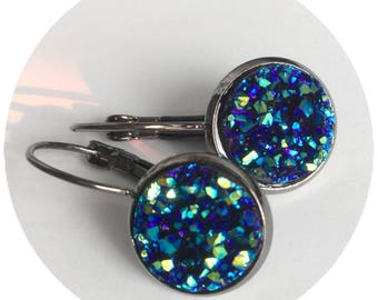 Titanium Blue Druzy earrings, faux druze, sparkle