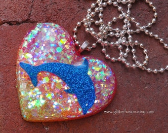 Holographic Blue Dolphin California Sunset Ombre Resin Heart Pendant, Hot Pink Neon Ombre Resin Heart Necklace, Vintage 90s Iridescent Heart