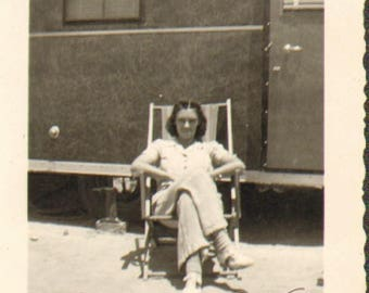 P12802 Vintage Photo of a Young Woman Sitting in a Lawn Chair