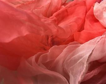 "Watermelon red Silk Gauze Scarf(Perfect  for Nuno Felting) 40""X70"""