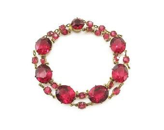 Art Deco Hot Pink Crystal Bracelet - Glass Crystals, Magenta Fuchsia, Gold Tone, Art Deco Jewelry, Vintage Bracelet, Vintage Jewelry