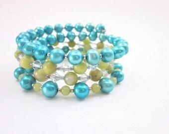 Blue & Green Wrap Bracelets -- Layering Wrap Bracelets -- Blue and Lime Bracelets -- Pearl and Jade Bracelets -- Beaded Wrap Bracelet