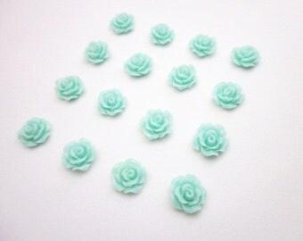 Aqua Blue Cabochons -- Wholesale Mini Flower Supplies -- DIY Flower Cabochons -- Mint Rose Flowers -- Mint Cabochons -- Aqua Flower Supply
