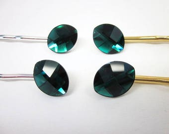 Green Hair Pin -- Leaf Hair Pin -- Swarovski Barrette -- Crystal Hair Pin -- Dark Green Hair Accessory -- Green Swarovski Hair Pin --Emerald
