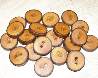 "20 Handmade plum wood Tree Branch Buttons with Bark, accessories (0,91'' diameter x 0,20"" thick)"