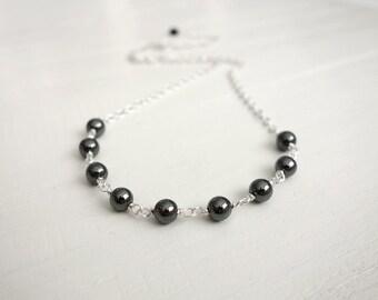 Hematite stone necklace chain necklace gray stone necklace minimalist necklace for women