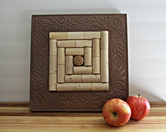 Wine Cork Trivet - Copper Wood Frame - Upcycled, Repurposed Serving Piece, Kitchen Decor