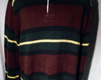 Mens Polo by Ralph Lauren burgundy green Horizontal Stripe pattern Cotton Rugby-Styled Shirt sz L