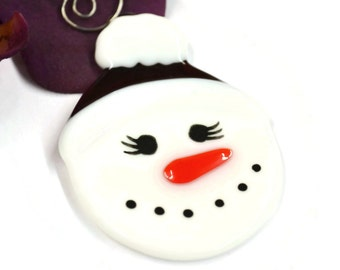 Snow Lady Christmas Ornament, Fused Glass, Snowman Ornament, Christmas Decor, Tree Decor, Place Card, Red Hat