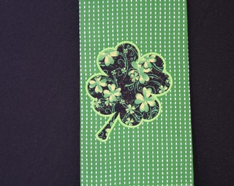 Embroidered Kitchen Towel Irish Theme Green And Black Applique