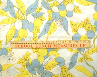 3 YDS yellow and blue leaves, flowy fabric
