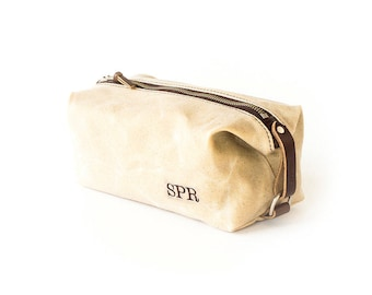 Groomsmen Gift - NO. 339 Compact Toiletry Bag for Men Embroidered Monogram Affixed Straps Waxed Canvas and Leather, Gift for Groomsman