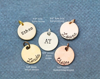 SALE • Five Eights Inch Disc Add•On to Handstamped Necklace • Extra • More • Another Tag • Silver Discs • Birthday Gift