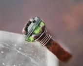 SALE Tourmaline Crystal Ring, ring size 7, raw stone ring-rough stone-artisan-handmade-hammered,green, one of a kind, Lemurian Diamond, Bibi