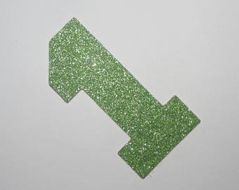 12-Green Glitter Number 1~Cake Topper~Cupcake Topper~Number 1 Die Cut~ Die Cut  ~Party Favor ~Birthday Cake Topper ~Birthday Party Favor
