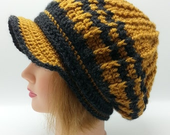 Slouchy Newsboy Honey Black Striped Hat Handmade Crochet Honey Bee Slouchy Visor Hat Newsboy Slouchy Visor Hat  OOAK Ready to Ship