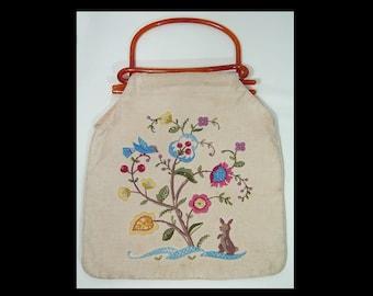 1940s cream fabric embroidered bag ~ tested root beer bakelite handles ~ deer squirrel birds flowers ~ 40s novelty purse handbag cotton
