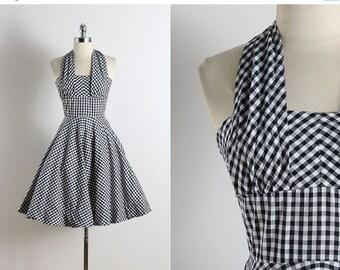 30% SALE Vintage 50s dress | vintage 1950s dress | gingham print cotton halter dress xs | 5764
