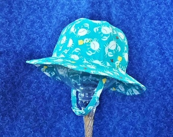 Baby Boy Sun Hat Turquoise with White Crabs and Chin Straps Nautical