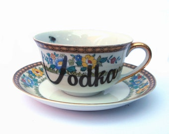 SALE - Vodka Altered Vintage Teacup and Saucer
