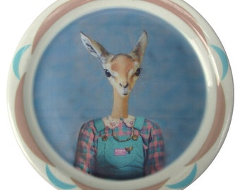 SALE - Imperfect - Meredith the Gazelle - Altered Retro Plate 9""