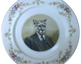"Colin the Cougar Portrait Plate - 7.75"""