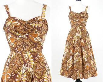 1950s Hawaiian Dress, 50s Dress, Tribal Print 50s Sundress, Small