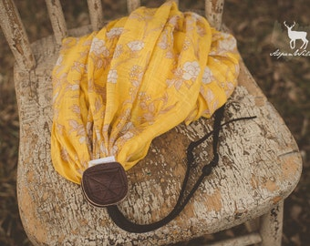Yellow Floral Scarf Camera Strap
